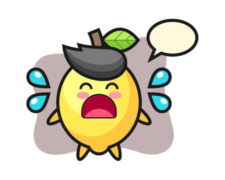 Lemon cartoon illustration with crying gesture, cute style design for t shirt, sticker, logo element