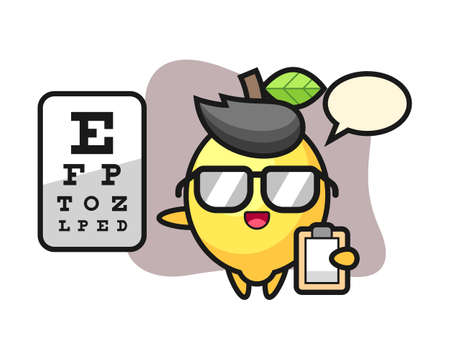 Illustration of lemon mascot as a ophthalmology, cute style design for t shirt, sticker, logo element