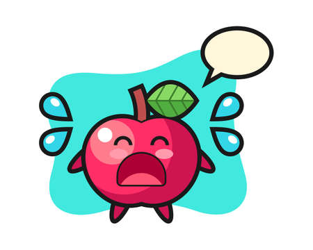 Apple cartoon illustration with crying gesture, cute style design for t shirt, sticker, logo element