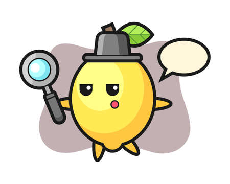 Lemon cartoon character searching with a magnifying glass, cute style design for t shirt, sticker, logo element Ilustracja