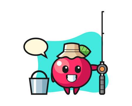 Mascot character of apple as a fisherman, cute style design for t shirt, sticker, logo element Illusztráció