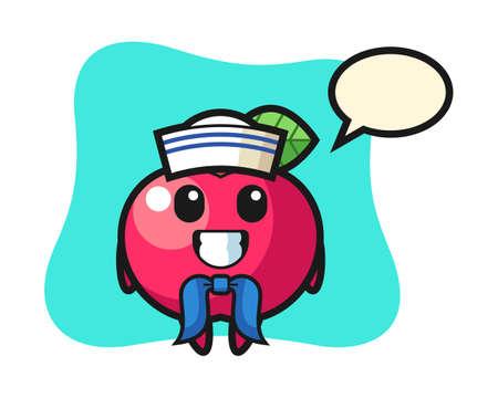 Character mascot of apple as a sailor man, cute style design for t shirt, sticker, logo element Illusztráció