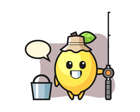 Mascot character of lemon as a fisherman, cute style design for t shirt, sticker, logo element