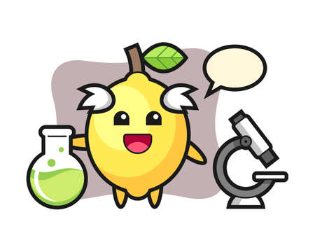 Mascot character of lemon as a scientist, cute style design for t shirt, sticker, logo element Ilustracja