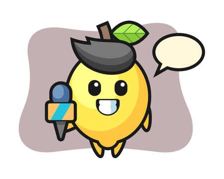Character mascot of lemon as a news reporter, cute style design for t shirt, sticker, logo element