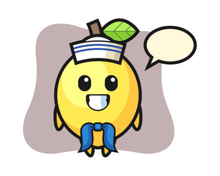 Character mascot of lemon as a sailor man, cute style design for t shirt, sticker, logo element