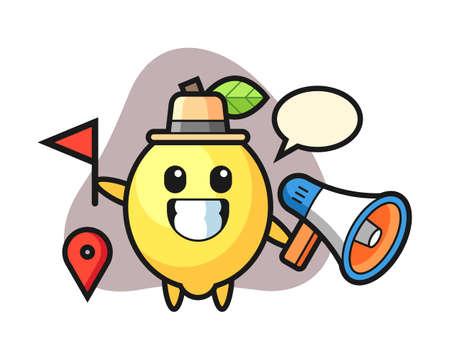 Character cartoon of lemon as a tour guide, cute style design for t shirt, sticker, logo element Illusztráció