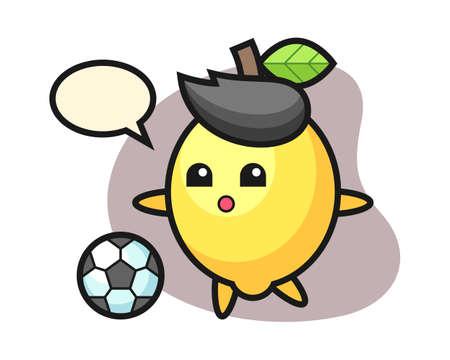 Illustration of lemon cartoon is playing soccer, cute style design for t shirt, sticker, logo element Illustration