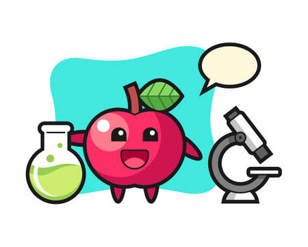 Mascot character of apple as a scientist, cute style design for t shirt, sticker, logo element
