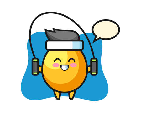 Golden egg character cartoon with skipping rope , cute style design for t shirt, sticker, logo element