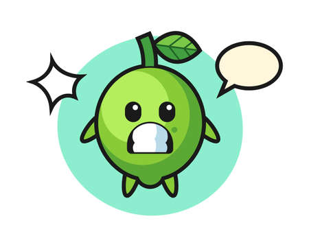Lime character cartoon with shocked gesture, cute style design for t shirt, sticker, logo element