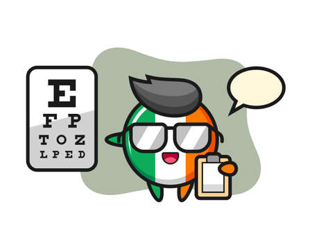 Illustration of ireland flag badge mascot as a ophthalmology, cute style design for t shirt, sticker, logo element