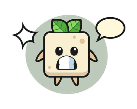 Tofu character cartoon with shocked gesture, cute style design for t shirt, sticker, logo element Ilustrace