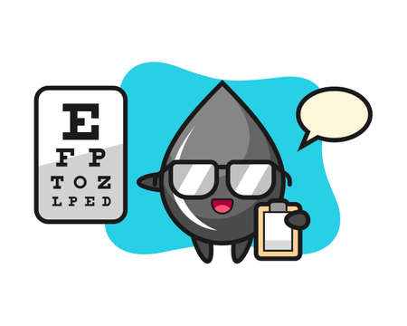 Illustration of oil drop mascot as a ophthalmology, cute style design for t shirt, sticker, logo element