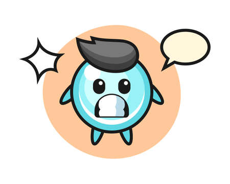 Bubble character cartoon with shocked gesture, cute style design for t shirt, sticker, logo element