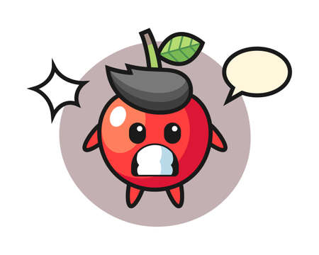Cherry character cartoon with shocked gesture, cute style design for t shirt, sticker, logo element Ilustrace