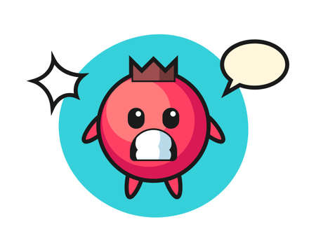 Cranberry character cartoon with shocked gesture, cute style design for t shirt, sticker, logo element Ilustrace