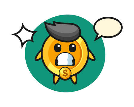 dollar coin character cartoon with shocked gesture, cute style design for t shirt, sticker, logo element Ilustrace