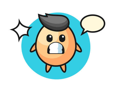 Egg character cartoon with shocked gesture, cute style design for t shirt, sticker, logo element