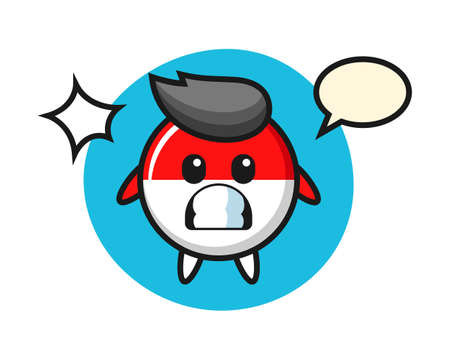Indonesia flag badge character cartoon with shocked gesture, cute style design for t shirt, sticker, logo element Ilustrace
