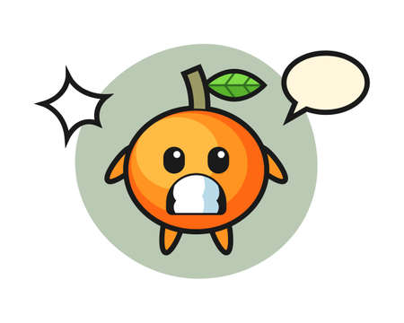 Mandarin orange character cartoon with shocked gesture, cute style design for t shirt, sticker, logo element