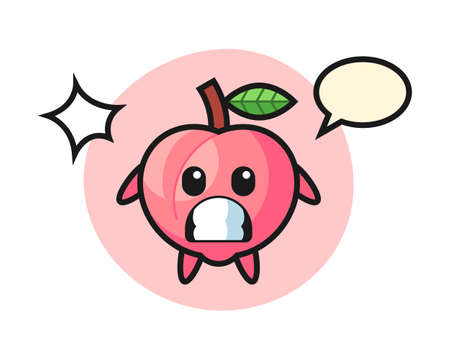 Peach character cartoon with shocked gesture, cute style design for t shirt, sticker, logo element Ilustrace