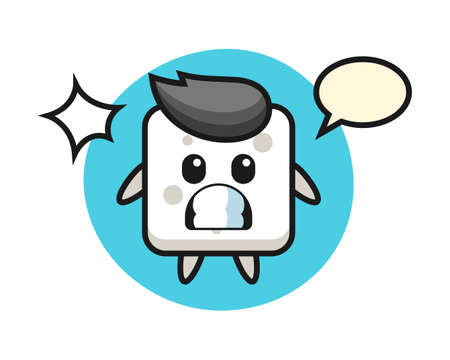 Sugar cube character cartoon with shocked gesture, cute style design for t shirt, sticker, logo element Ilustrace