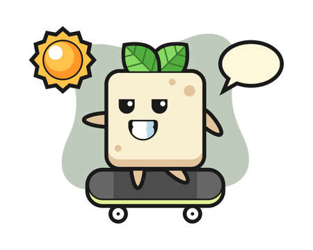 Tofu character illustration ride a skateboard, cute style design for t shirt, sticker, logo element