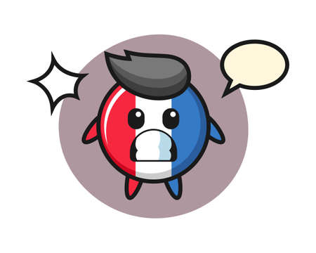 France flag badge character cartoon with shocked gesture, cute style design for t shirt, sticker, logo element