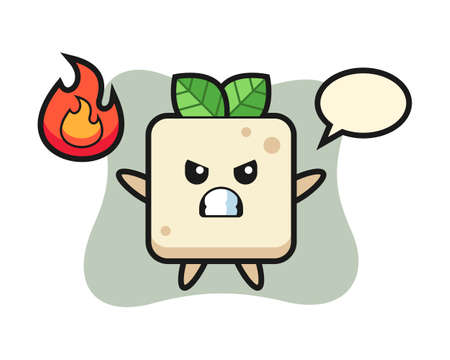 Tofu character cartoon with angry gesture, cute style design for t shirt, sticker, logo element