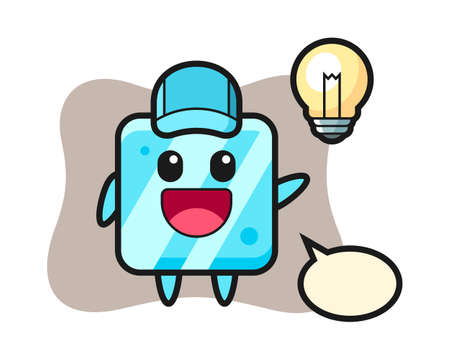 Ice cube character cartoon getting the idea, cute style design for t shirt, sticker, logo element