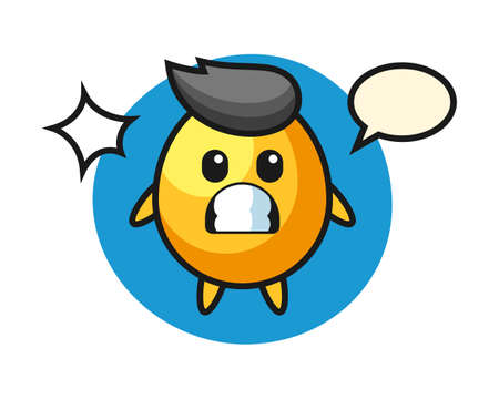 Golden egg character cartoon with shocked gesture, cute style design for t shirt, sticker, logo element