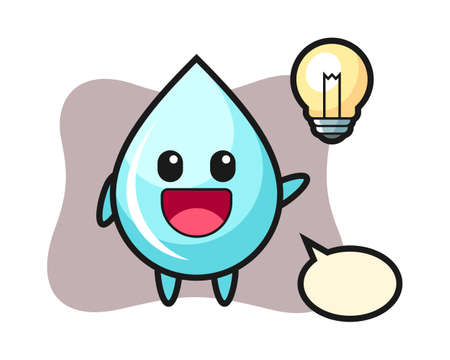 Water drop character cartoon getting the idea, cute style design for t shirt, sticker, logo element
