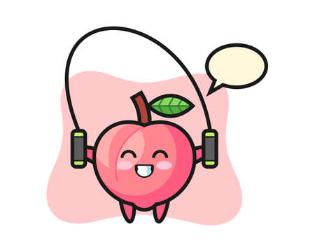 Peach character cartoon with skipping rope , cute style design for t shirt, sticker, logo element Ilustrace