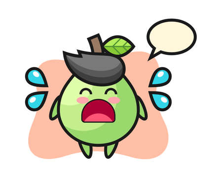 Guava cartoon illustration with crying gesture, cute style design for t shirt, sticker, logo element