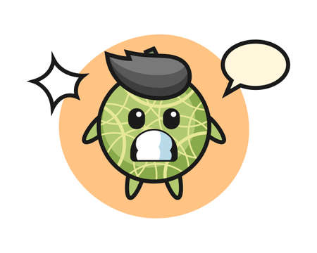 Melon character cartoon with shocked gesture, cute style design for t shirt, sticker, logo element Ilustrace