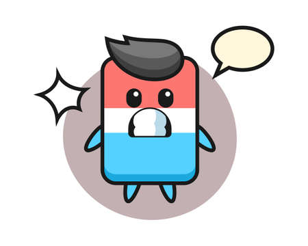 Eraser character cartoon with shocked gesture, cute style design for t shirt, sticker, logo element