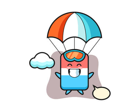 Eraser mascot cartoon is skydiving with happy gesture, cute style design for t shirt, sticker, logo element Logo