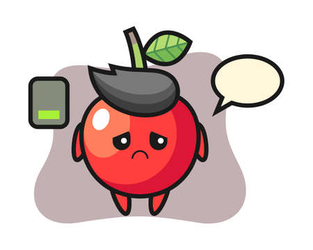 Cherry mascot character doing a tired gesture, cute style design for t shirt, sticker, logo element