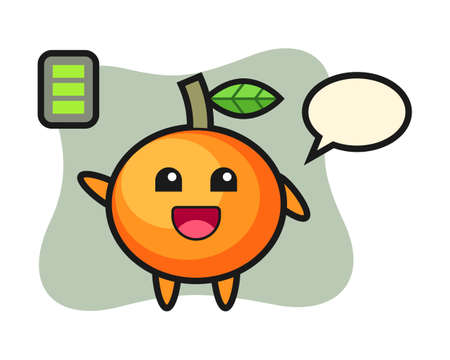 Mandarin orange mascot character with energetic gesture, cute style design for t shirt, sticker, logo element