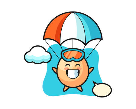 Egg mascot cartoon is skydiving with happy gesture, cute style design for t shirt, sticker, logo element Иллюстрация