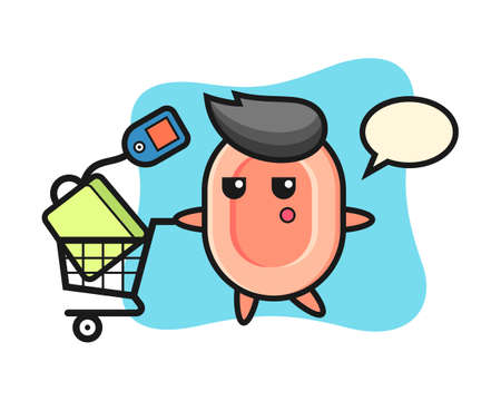 Soap illustration cartoon with a shopping cart, cute style design for t shirt, sticker, logo element Logo