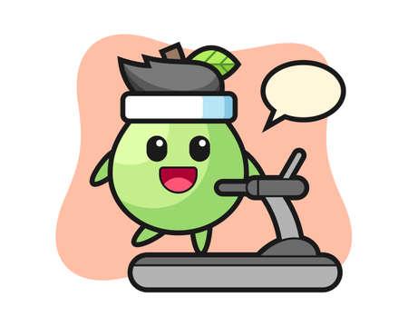Guava cartoon character walking on the treadmill, cute style design for t shirt, sticker, logo element