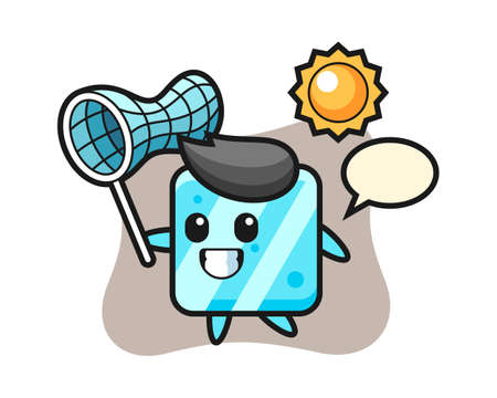 Ice cube mascot illustration is catching butterfly, cute style design for t shirt, sticker, logo element