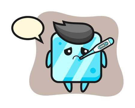 Ice cube mascot character with fever condition, cute style design for t shirt, sticker, logo element
