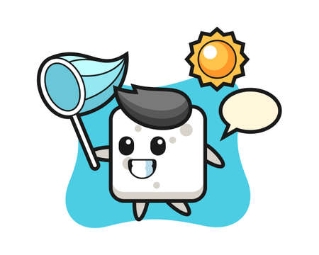 Sugar cube mascot illustration is catching butterfly, cute style design for t shirt, sticker, logo element