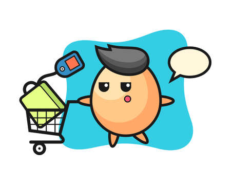 Egg illustration cartoon with a shopping cart, cute style design for t shirt, sticker, logo element