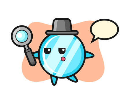 Mirror cartoon character searching with a magnifying glass, cute style design for t shirt, sticker, logo element Logo