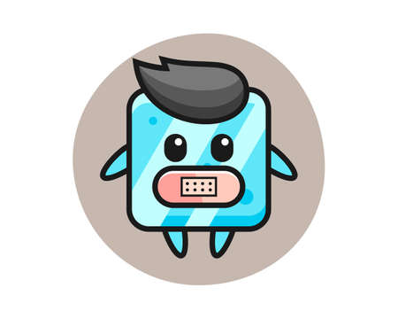 Cartoon illustration of ice cube with tape on mouth, cute style design for t shirt, sticker, logo element Vettoriali