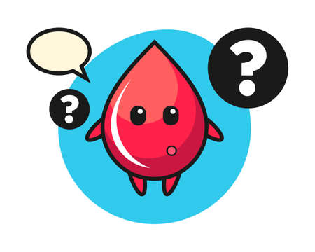 Cartoon illustration of blood drop with the question mark, cute style design for t shirt, sticker, logo element